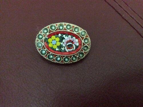 Vintage Floral Micro Mosaic Pin