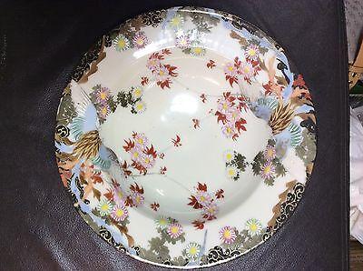 Early 1900's Japanese Kutani-ware Kashiki DESSERT BOWL Flower Bird pattern a
