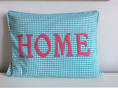 Gingham Fabric Handmade Cushion with HOME Lettering in Pink Felt New - Gingham Fabric Letters
