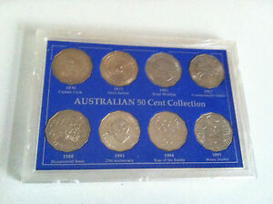 1970 TO 1996  AUSTRALIAN 50c UNC 8 COIN COLLECTION SET