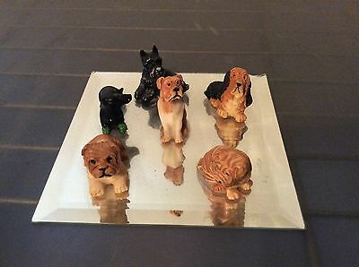 Lot Of 6 Vintage Dog Miniature Figurines Porcelain Ceramic Small