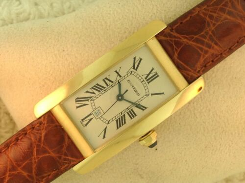 Cartier 18k Yellow Gold Tank Americane 1725 Automatic Watch