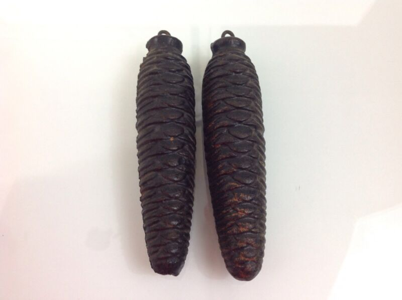 Pair Of Vintage Cuckoo Clock Cast Iron Pinecone Weights