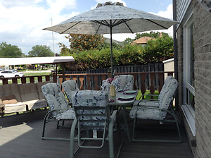 15 pce patio set & 3 seater covered swing