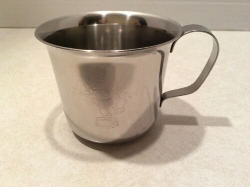 Stainless steel baby cup, etched elephant design, marked Denmark
