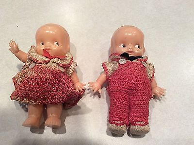 PAIR vintage Irwin celluloid dolls, crochet dress, boy and girl