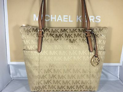 NWT Michael Kors Camel Jacquard Signature Jet Set Item East West Tote Bag Purse