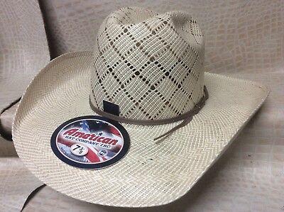 New American Hat Co Tan Rodeo Western Cowboy Straw Hat Minnick Crown CHL Brim Brim Straw Cowboy Hat
