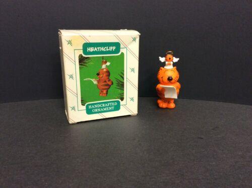 Heathcliff Orange Cat & Angel Santa List 1986 Hallmark Keepsake Ornament & box