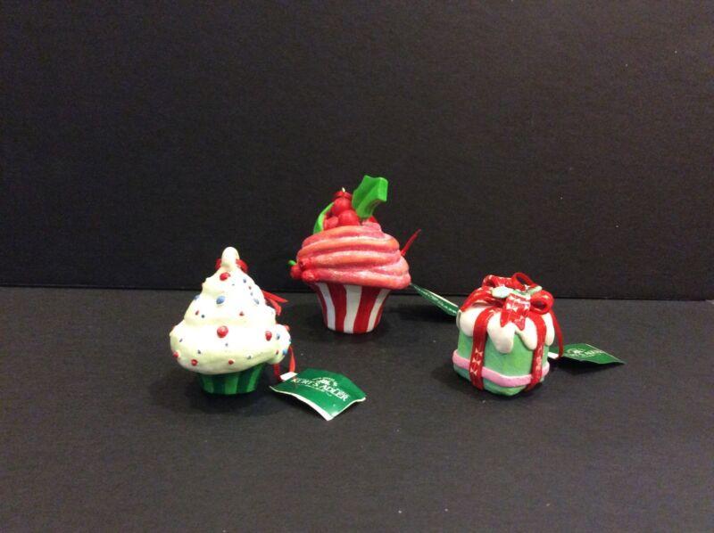 Kurt Adler Lot Of 3 Cupcake Christmas Tree Ornaments NWT