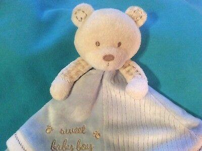 Carters Sweet Baby Boy Teddy Bear Security Blanket Blue White Rattle Satin