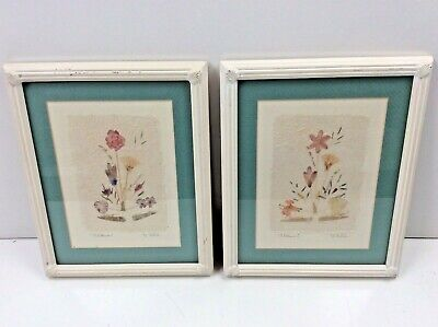 Pair Framed Wildflowers Mixed Media Signed Art Pieces 1993
