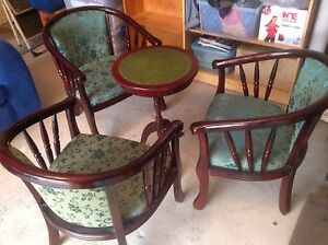 Antique style card table and parlour chairs. Mahogany stain timber Seven Hills Blacktown Area Preview