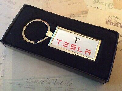 Tesla Metálico Cromo Llavero Mando Completo en Caja Rectangular
