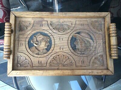 Vintage FRENCH BRETON WOODEN SERVING TRAY * Carved Faces of Man & Woman * VGC