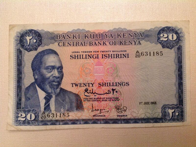 1968 Kenya Twenty 20 Shillings P # 3c