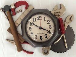 Vintage Buzzwood New Haven Quartz Wall Clock Analog Tool Theme Man Cave Garage