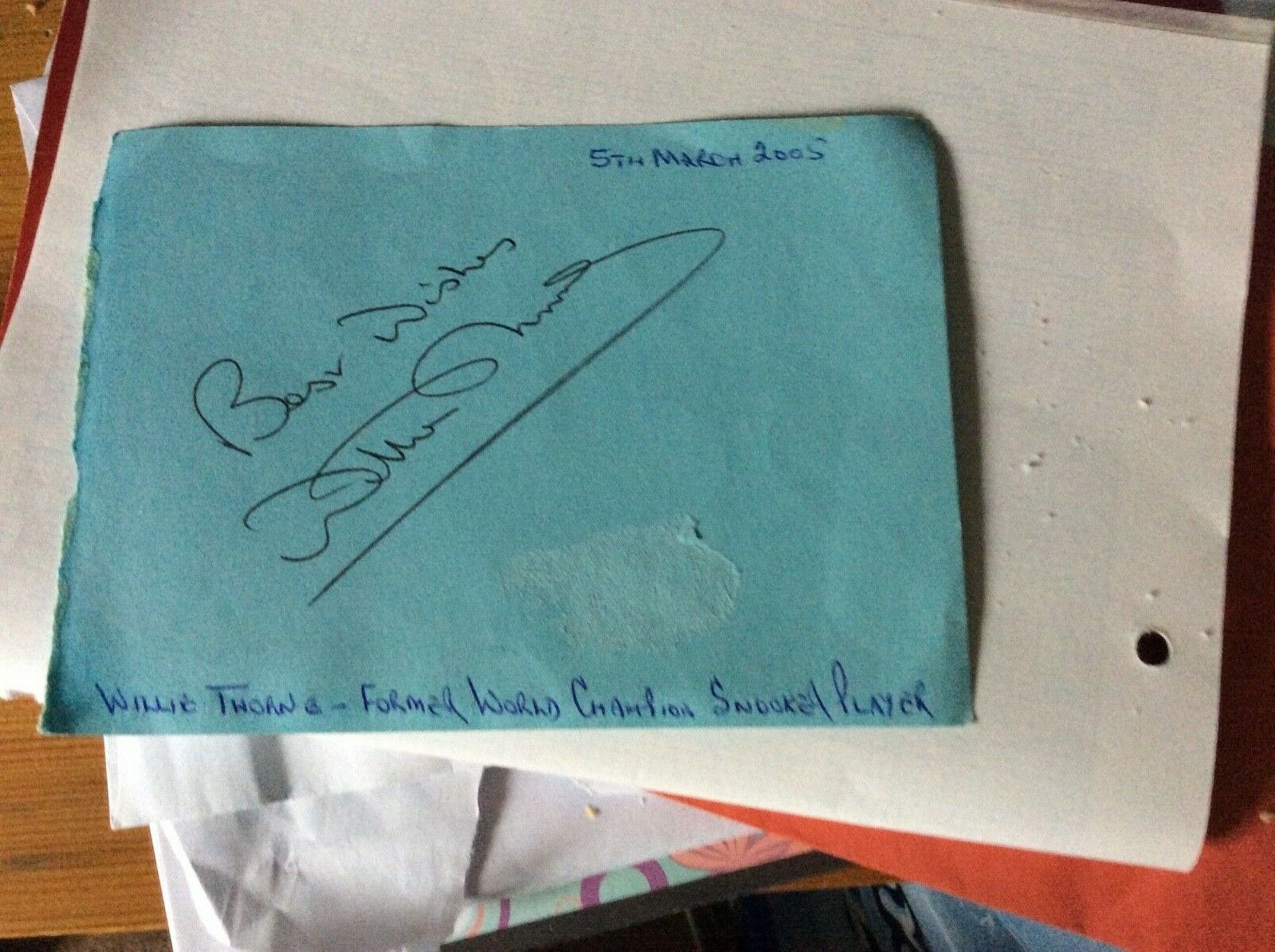 Willie Thorne Autograph
