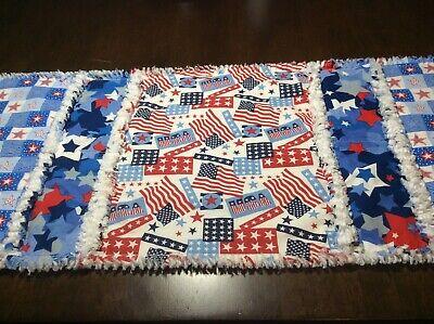 4th Of July Table Runner (New Handmade Rag Quilted Table Runner Americana 4th of July 12
