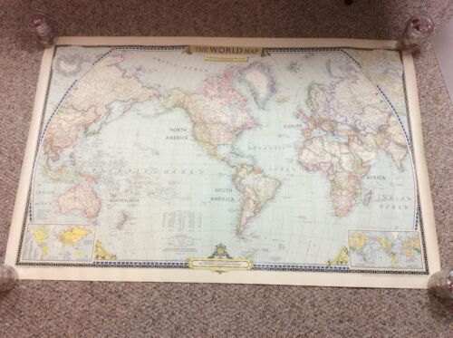 "Vintage 1951 National Geographic Lithograph Rolled World Map 41 1/2"" x 27 1/2"""