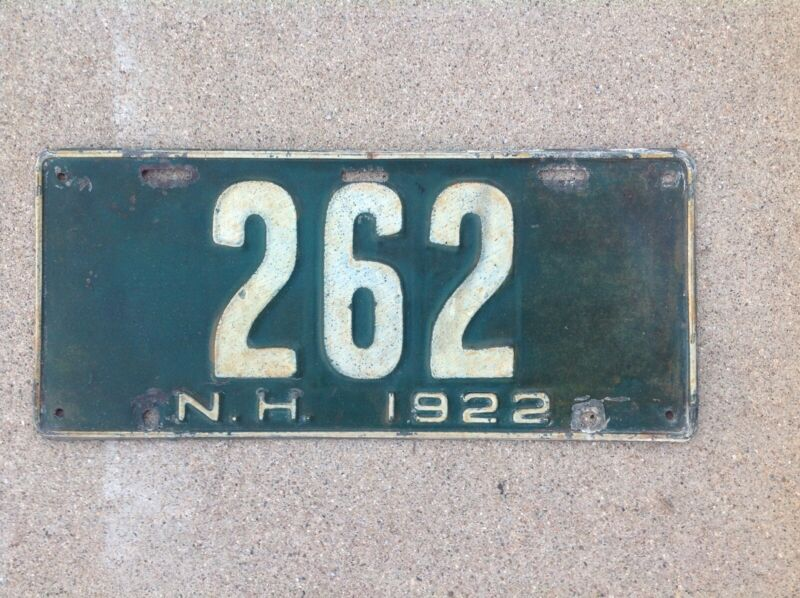 1922  NEW HAMPSHIRE LICENSE PLATE - ORIGINAL PAINT