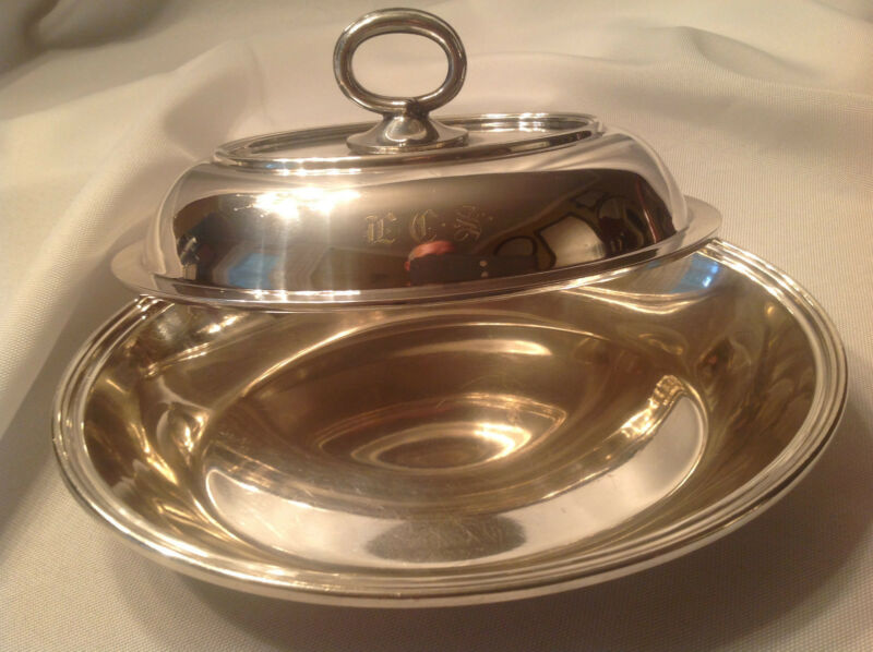 Vintage Reed & Barton Silver Plate Covered Serving Dish Removable Handle Mono