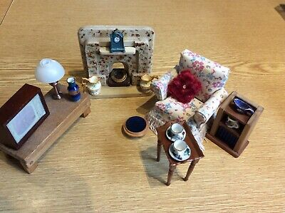 Vintage Dolls House 1/12 Lounge Furniture and Accessories Bundle