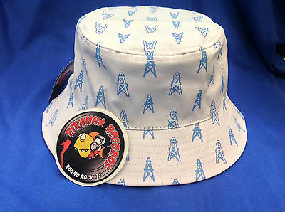 Baby Blue Oilers Printed White Full-Brim Bucket Hat ONE SIZE Piranha Records - White Bucket Hats