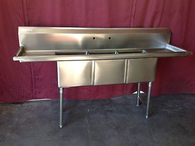 New 3 Compartment Sink 15x15 Dual Drainboards Nsf 2076 Dish Wash Stainless