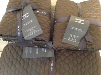 Lexington King (West Elm Lexington King Quilted Coverlet & 2 Euro Shams NWT! Clay  Brown~Gray)