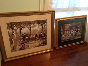 Two large framed and matted prints of paintings