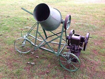 Rare Antique John Deere Hit Miss Cement Mixer On Factory Jd Cart Good Runner