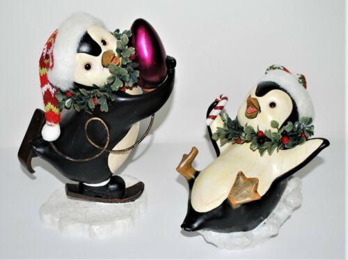 Wood-Look Penguins Christmas Decoration Set of 2 Costco