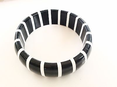 Black And White Bangle Bracelet Vintage Plastic Striped Bracelet Retro Vintage