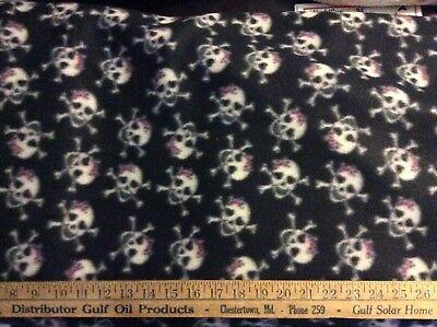 Rare Skull pink bow cross bone fleece fabric on black 60