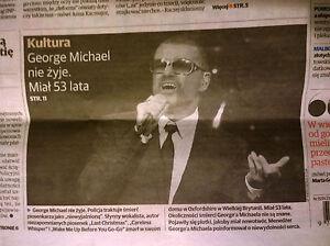 GEORGE MICHAEL POLISH NEWSPAPER 27TH DECEMBER DEATH OF GEORGE MICHAEL - <span itemprop=availableAtOrFrom>Gdynia, Polska</span> - GEORGE MICHAEL POLISH NEWSPAPER 27TH DECEMBER DEATH OF GEORGE MICHAEL - Gdynia, Polska