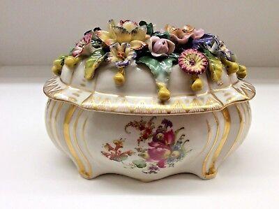 Antike Dose mit Deckel und Blumen Wien Selten