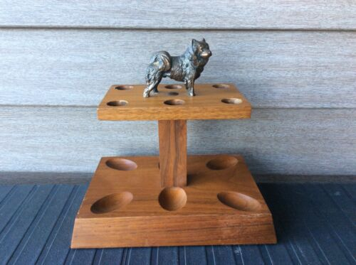 Vintage Hardwood Pipe Stand with Bronze/Copper Akita Dog Figurine on top, 6 pipe