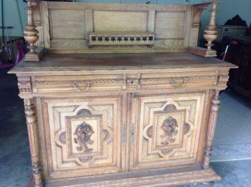 Antique 19thC  Carved Oak Jacobean Court Cupboard Cabinet 3 Pieces