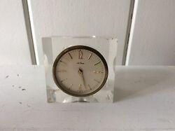 Vintage Mid Century Modern Seth Thomas Lucite Alarm Desk Clock Germany WORKS!