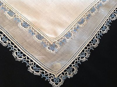 #831 Amazing Vintage Tatted Lace Handkerchief Hanky Blue White On White Keepsake