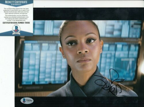 ZOE SALDANA signed (STAR TREK INTO DARKNESS) Movie 8X10 photo BECKETT BAS T56592