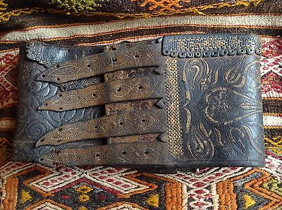 Antique 18.C. World Largest Hand Embroidered Leather Belt Ethnography Lamber Bag