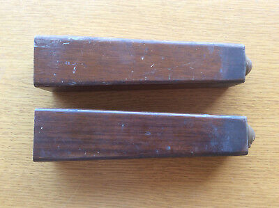2 Square Wooden Furniture Legs, Retro Vintage Antique, 1930s 1940s Ball Castors