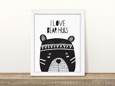 (I Love Bear Hugs - Nursery Print - Baby Room - Wall Art - Kids Bedroom - Black)