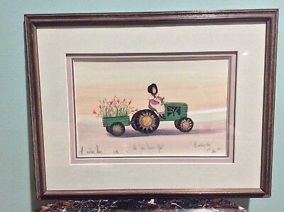 The John Deere Girl By P. Buckley Moss Signed Dated Numbered Framed