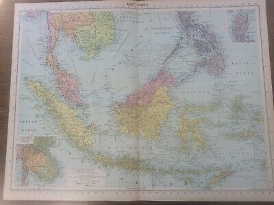 Vintage Antique 1939 Philips Map 20x15 Asia East Indies