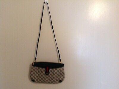 Gucci Vintage GG Monogram Blue Swagger Clutch / Crossbody Handbag