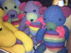 Hand knit wool teddybears