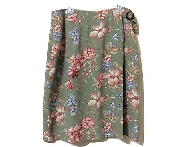 Eleanor Colton Womens Multicolor Floral front over-Wrap Skirt Size 6 knee Long